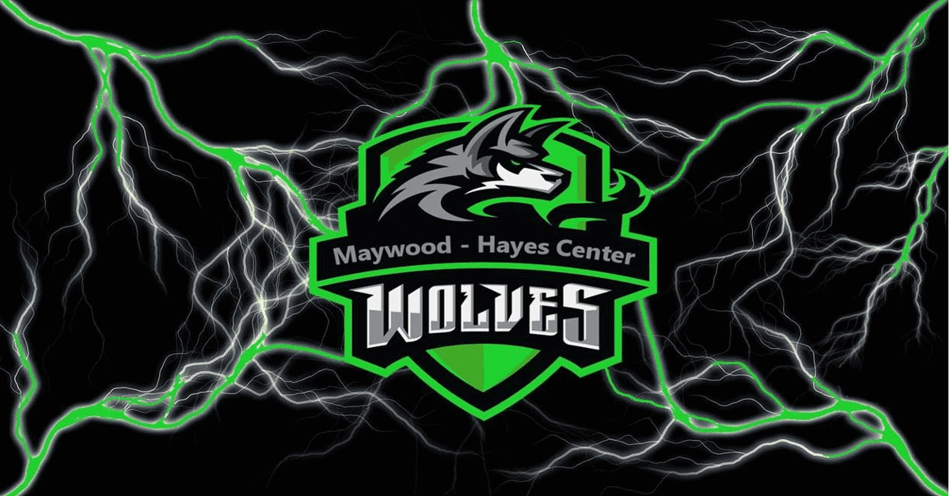 Maywood-Hayes Center Wolves mascot logo.
