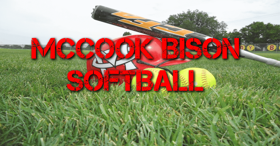 Softball field with balls and a helment laying on the ground in the background with the words McCook bison Softball overlaid in the center.